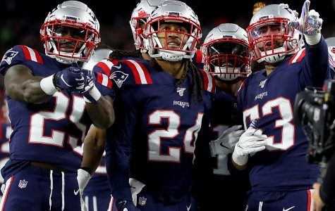 FOXBOROUGH, MASSACHUSETTS - OCTOBER 10: Kyle Van Noy #53 of the New England Patriots celebrates with his teammates Terrence Brooks #25, Stephon Gilmore #24 and Matthew Slater #18 after recovering a fumble to score a touchdown against the New York Giants during the fourth quarter in the game at Gillette Stadium on October 10, 2019 in Foxborough, Massachusetts. (Photo by Maddie Meyer/Getty Images)