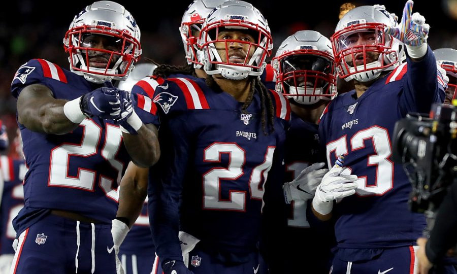 FOXBOROUGH%2C+MASSACHUSETTS+-+OCTOBER+10%3A+Kyle+Van+Noy+%2353+of+the+New+England+Patriots+celebrates+with+his+teammates+Terrence+Brooks+%2325%2C+Stephon+Gilmore+%2324+and+Matthew+Slater+%2318+after+recovering+a+fumble+to+score+a+touchdown+against+the+New+York+Giants+during+the+fourth+quarter+in+the+game+at+Gillette+Stadium+on+October+10%2C+2019+in+Foxborough%2C+Massachusetts.+%28Photo+by+Maddie+Meyer%2FGetty+Images%29