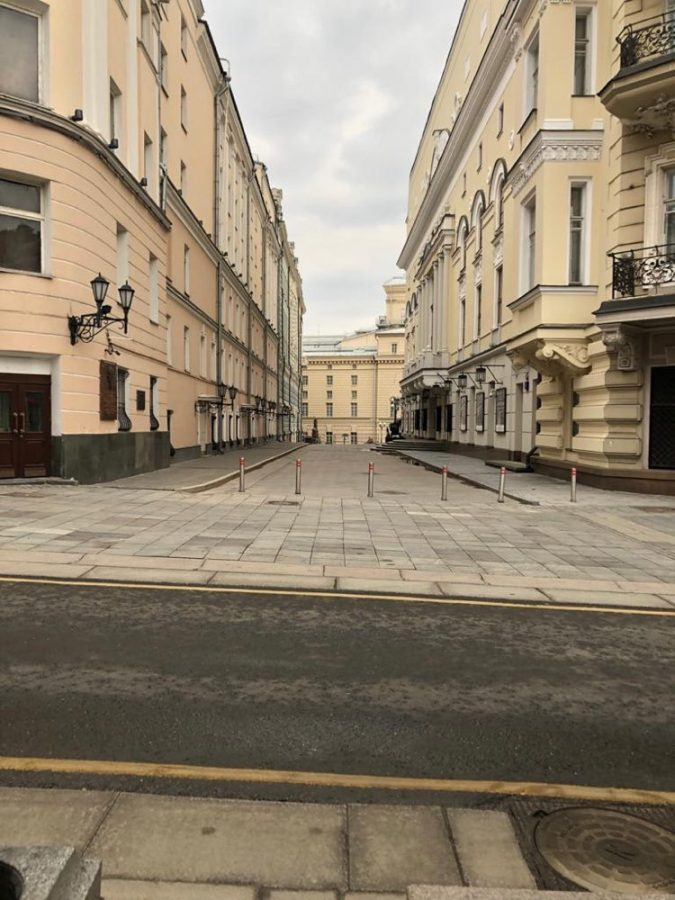 Just off of Moscow's famous Red Square, the once bustling Tverskaya Street now sits empty.