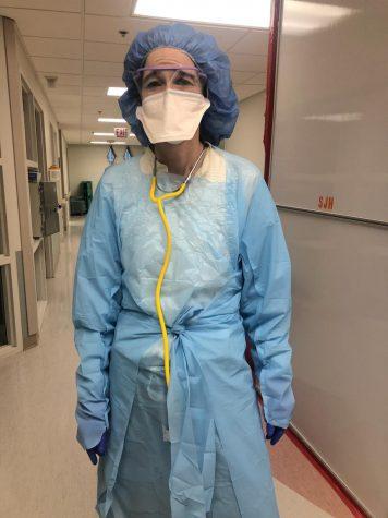 Ms. O'Toole gets ready to face COVID-19 at Saint Joseph Hospital.