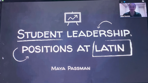 "Senior Maya Passman presenting her Senior Project on ""Student Leadership Positions at Latin""."
