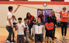 Students playing a game at last year's pep rally organized by student government.