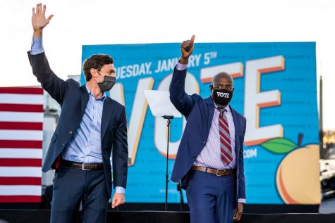 Jon Ossoff and the Rev. Raphael Warnock campaigning in Atlanta, GA.