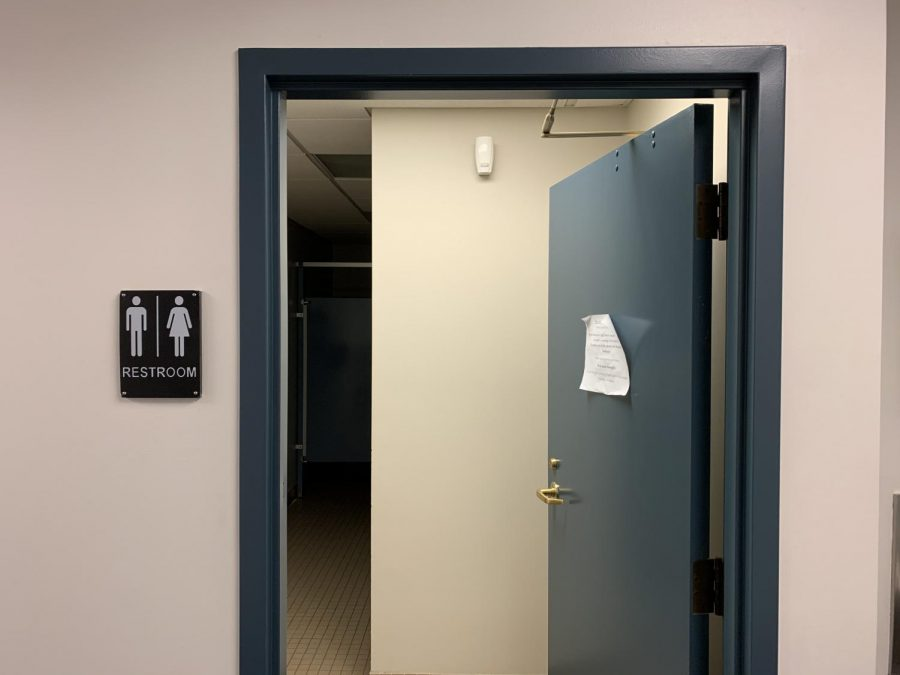 The entryway to one of the new gender-neutral bathrooms outside of Room 323