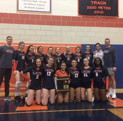 """The girls volleyball team after winning Sectionals."""