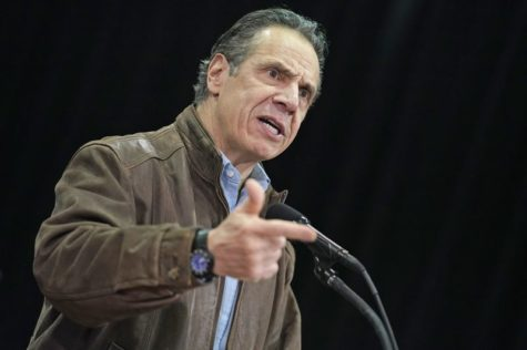 Governor Andrew Cuomo speaking at a press conference about vaccine distribution in New York State on February 24, 2021.