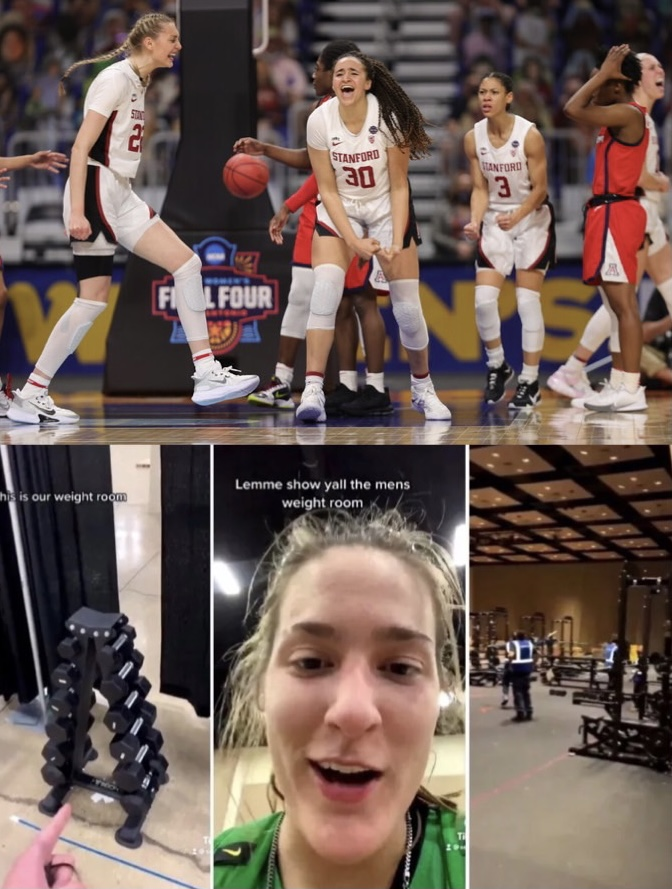 The Stanford Women's basketball team celebrating their win and screenshots of Sedona Prince's TikTok videos.
