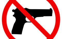 Gun Prohibition sign warning vector illustration. Restricted area pistol not allowed.