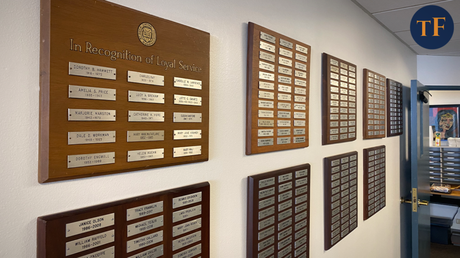 A series of plaques honoring Latin's most loyal educators lines the second-floor hallway.