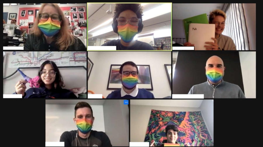 The LGBTQ+ affinity sporting their rainbow masks which were handed out to students and faculty last Friday for Day of Discussion.
