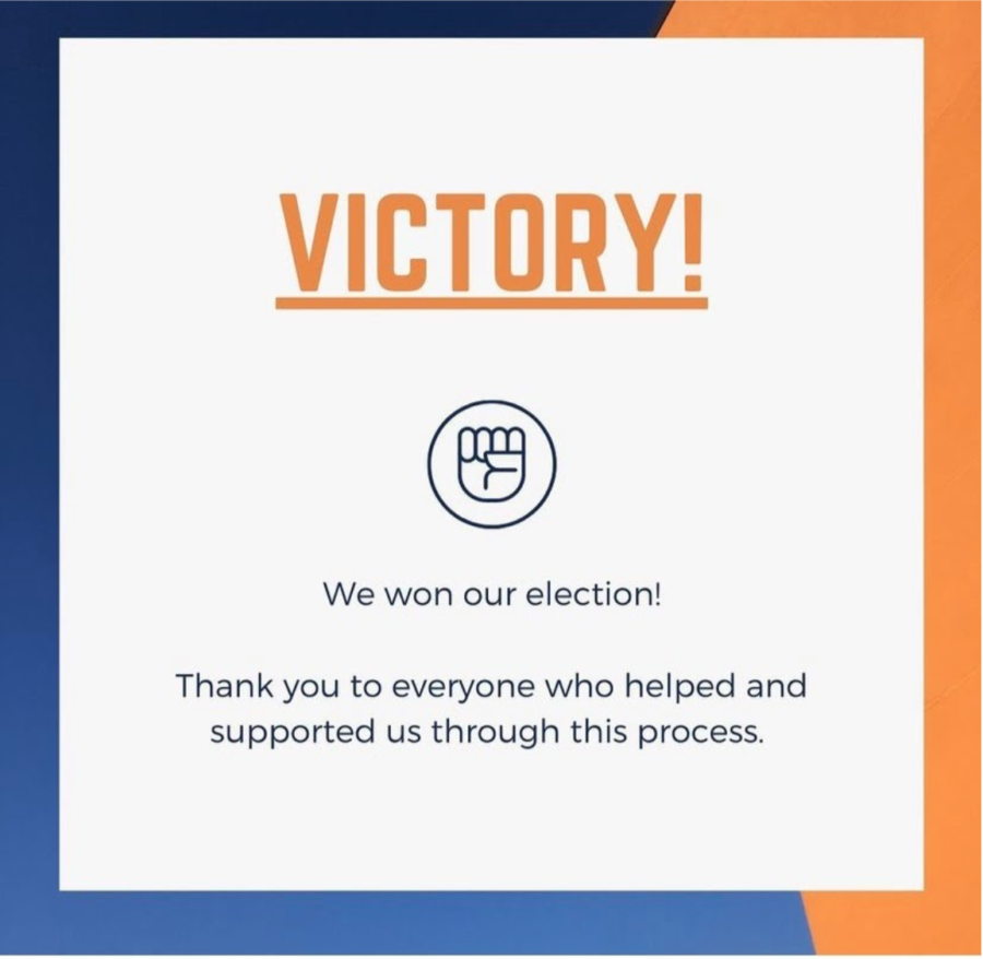 The union posted on their Instagram to alert followers of their victory.