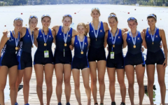 Nora Goodwillie '22 and the USA Rowing Team after their gold-medal victory at the World Rowing Junior Championships