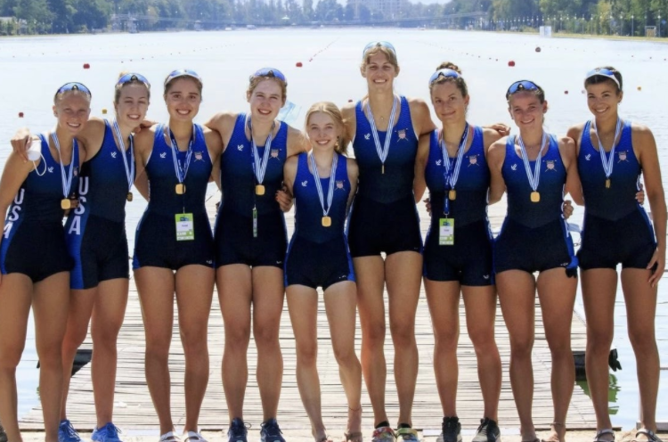 Nora Goodwillie 22 and the USA Rowing Team after their gold-medal victory at the World Rowing Junior Championships