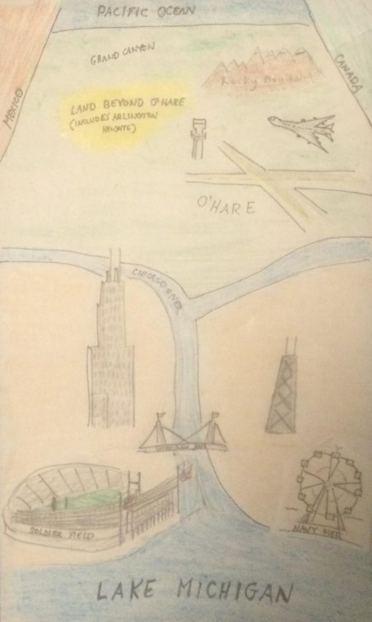 How Chicagos Chicago Bears Fans See the World (Inspired by Saul Steinberg for the New Yorker)
